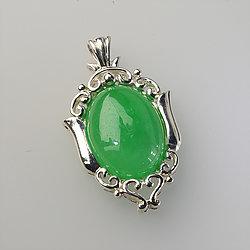 Green Jade Wild Stallion Rectangle Pendant 925 Sterling Silver