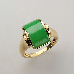 Genuine Jade Ring lined with 18K Diamond Cut Gold Size 9 from Taiwan